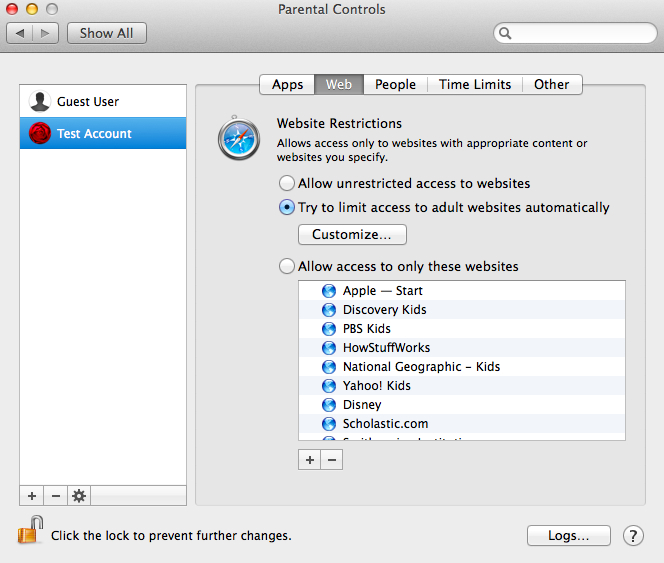 Parental Controls on the Mac