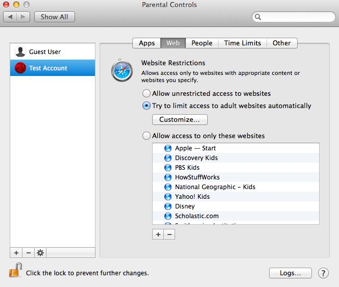 Parental Controls on the Mac
