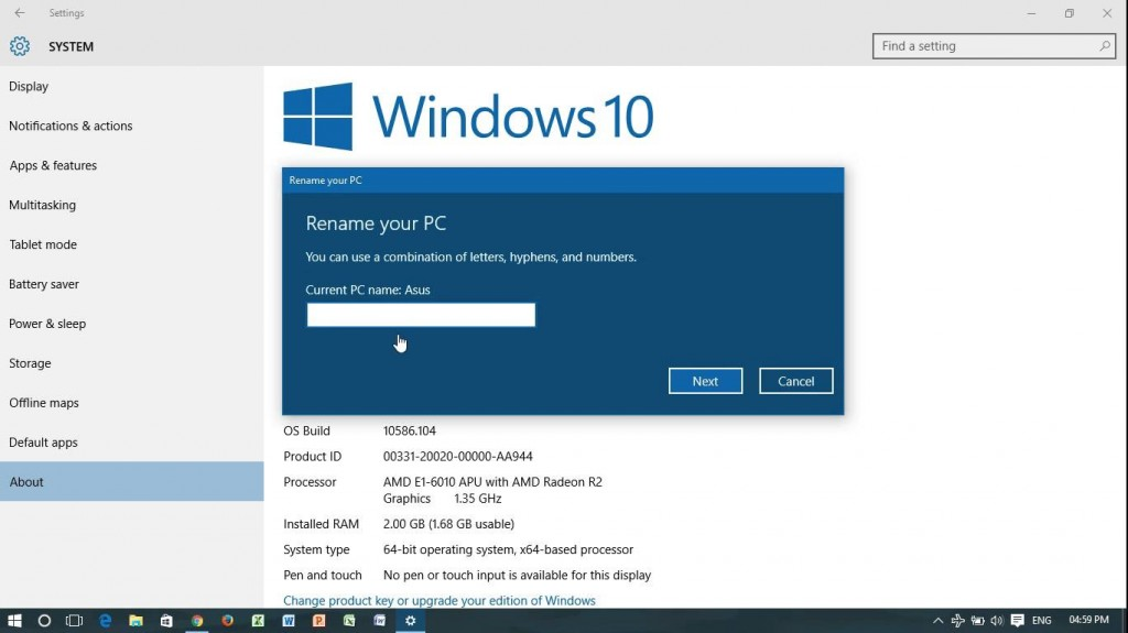 Change PC's Name in Windows 10