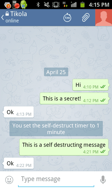 Telegram self-destructing messages