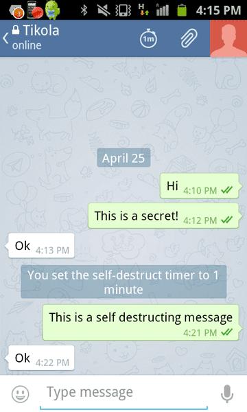 Telegram self-destructing messages